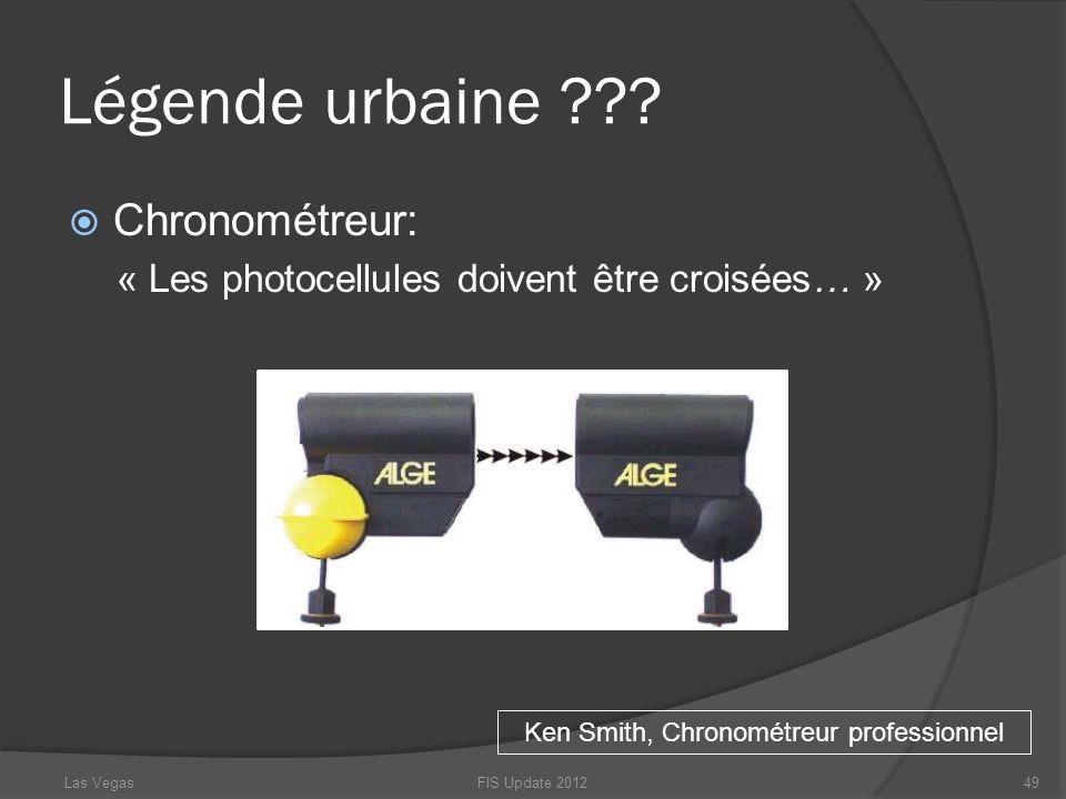 Légende urbaine ??? Chronométreur: « Les photocellules doivent être croisées… » FIS Update 201249 Ken Smith, Chronométreur professionnel Las Vegas