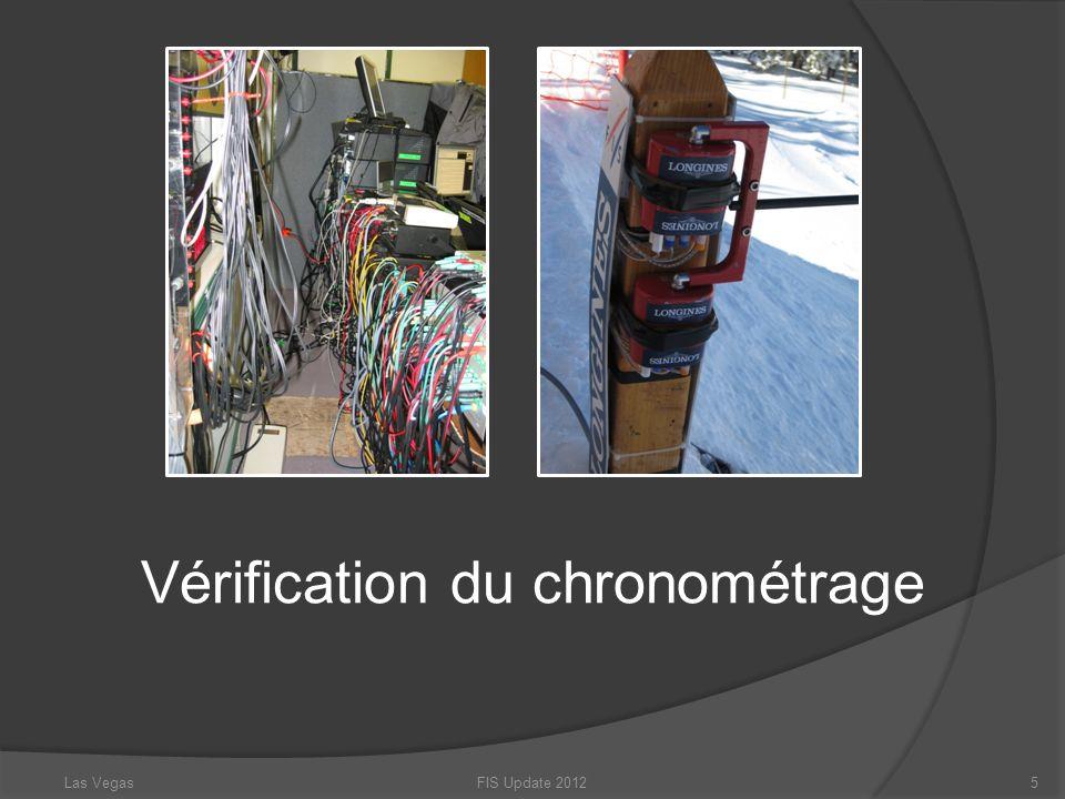 Vérification du chronométrage Niveau de course VS Exigences du niveau de course FIS Update 20126Las Vegas