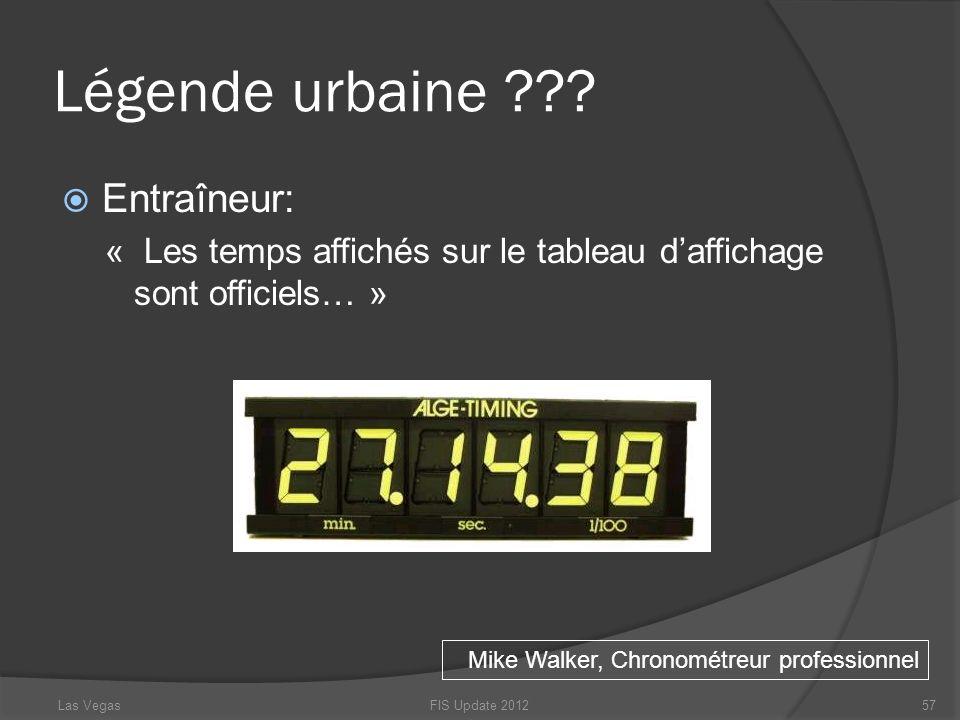 Légende urbaine ??? Entraîneur: « Les temps affichés sur le tableau daffichage sont officiels… » FIS Update 201257 Mike Walker, Chronométreur professi
