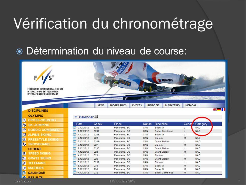 Vérification du chronométrage Détermination du niveau de course: FIS Update 20127Las Vegas