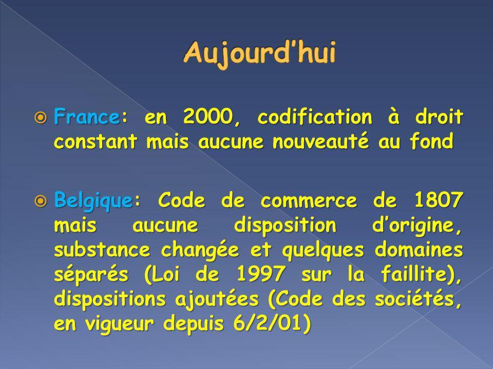 France: en 2000, codification à droit constant mais aucune nouveauté au fond France: en 2000, codification à droit constant mais aucune nouveauté au f