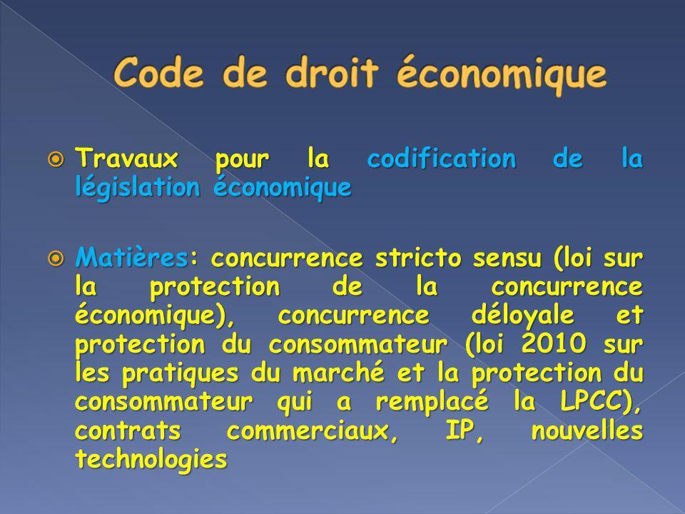 Travaux pour la codification de la législation économique Travaux pour la codification de la législation économique Matières: concurrence stricto sens
