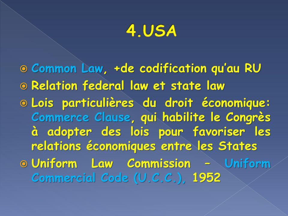 Common Law, +de codification quau RU Common Law, +de codification quau RU Relation federal law et state law Relation federal law et state law Lois par