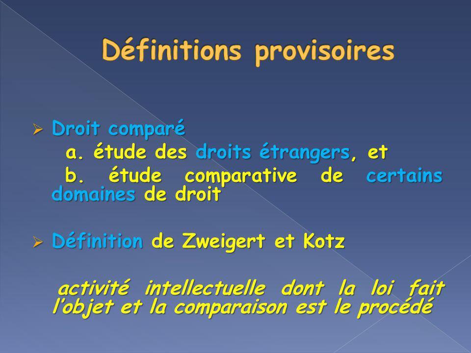 Droit comparé Droit comparé a. étude des droits étrangers, et a. étude des droits étrangers, et b. étude comparative de certains domaines de droit b.