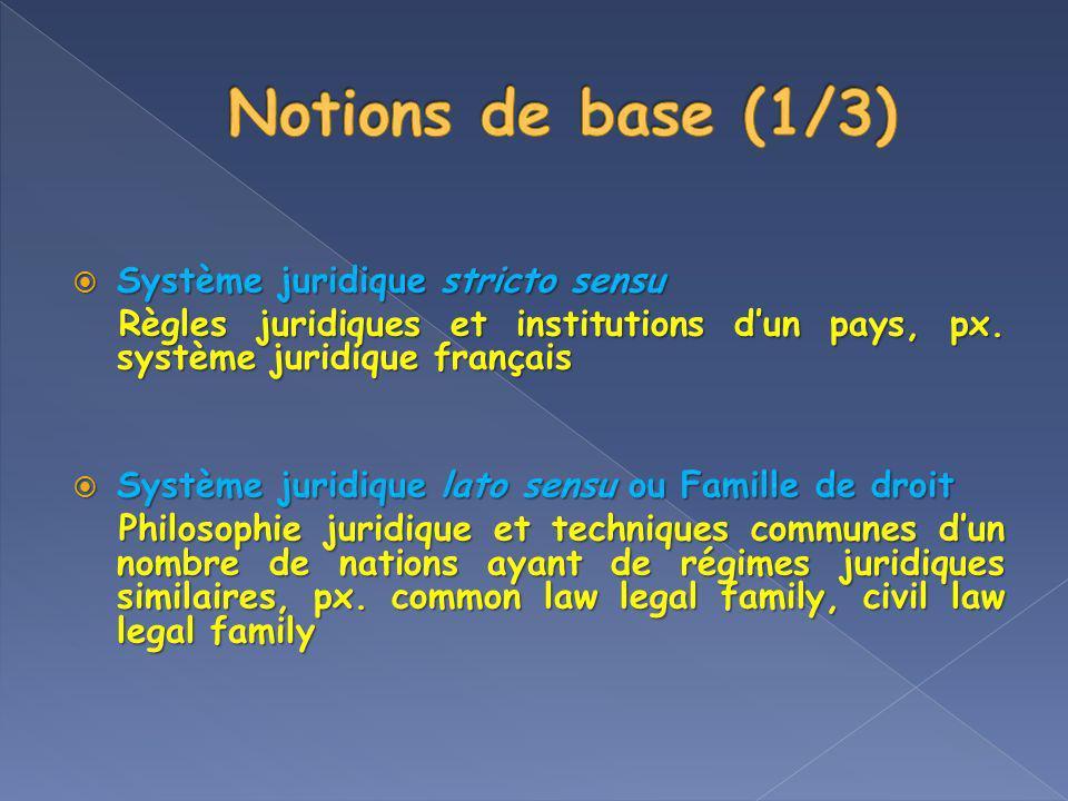 Système juridique stricto sensu Système juridique stricto sensu Règles juridiques et institutions dun pays, px. système juridique français Règles juri