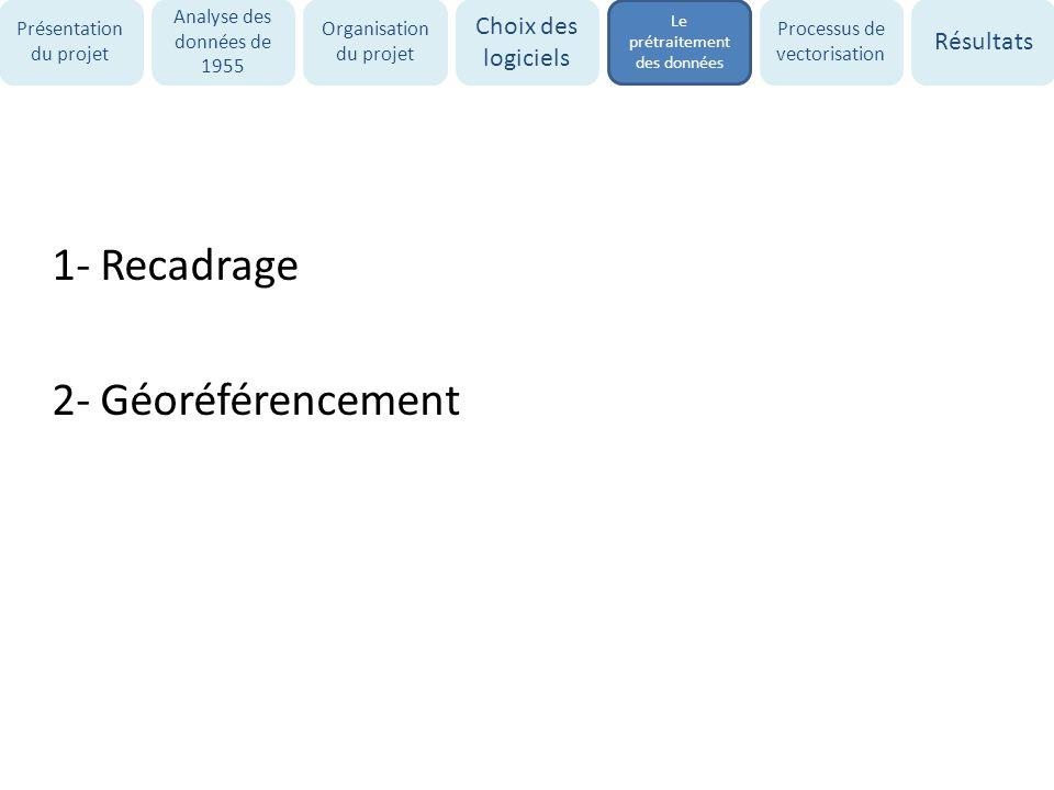 1- Recadrage 2- Géoréférencement Présentation du projet Analyse des données de 1955 Organisation du projet Choix des logiciels Le prétraitement des do