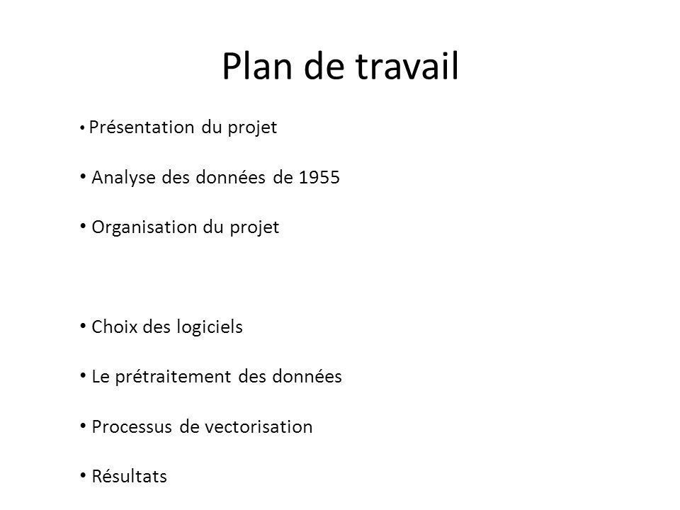 Résultat global Présentation du projet Analyse des données de 1955 Organisation du projet Choix des logiciels Le prétraitement des données Processus de vectorisation Résultats