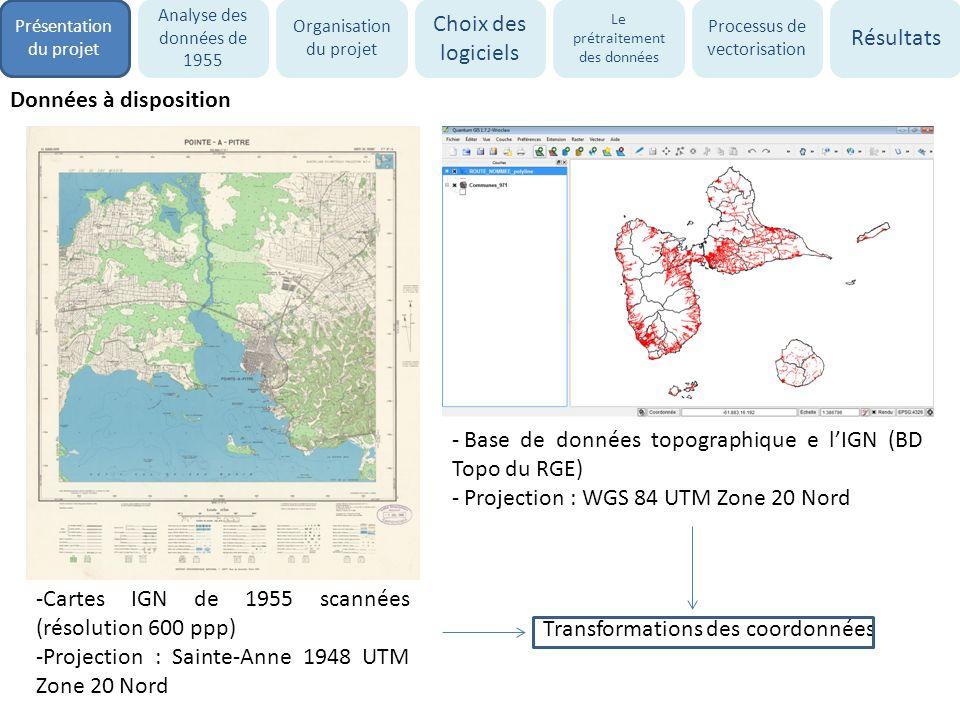 - Création de couches géoréférencées des zones naturelles, urbaines et agricoles par vectorisation automatique La vectorisation automatique : Méthode sous ArcGIS : module ArcScan (prétraitement du raster, vectorisation selon la méthode des axes ou de contour) Logiciels existants : R2V, Inkscape, Wintopo, GTX OSR… - Insertion de ces couches dans modèle spatial SPACELLE en vue détablir une simulation prospective des changements doccupation du sol en Guadeloupe à lhorizon 2030 Objectifs du projet Présentation du projet Analyse des données de 1955 Organisation du projet Choix des logiciels Le prétraitement des données Processus de vectorisation Résultats