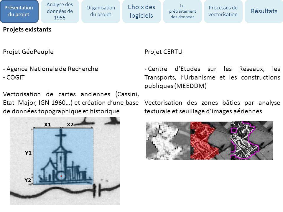 Projets existants Projet GéoPeuple - Agence Nationale de Recherche - COGIT Vectorisation de cartes anciennes (Cassini, Etat- Major, IGN 1960…) et créa