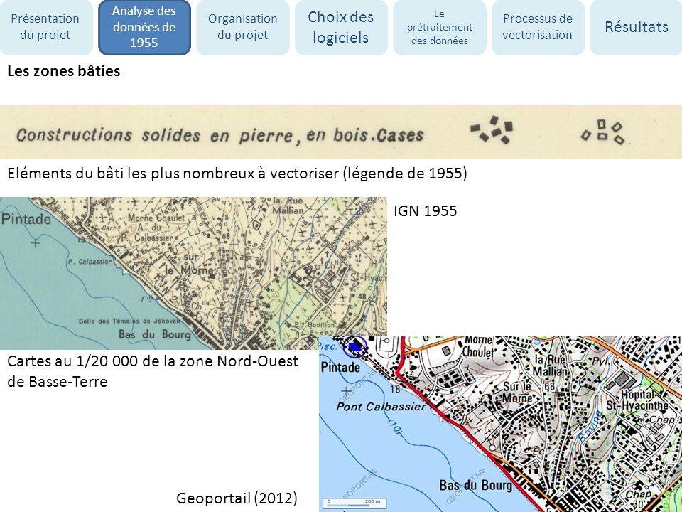 Les zones bâties Eléments du bâti les plus nombreux à vectoriser (légende de 1955) Cartes au 1/20 000 de la zone Nord-Ouest de Basse-Terre IGN 1955 Ge