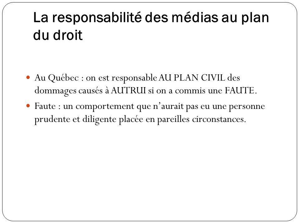 La responsabilité des médias au plan du droit Au Québec : on est responsable AU PLAN CIVIL des dommages causés à AUTRUI si on a commis une FAUTE. Faut