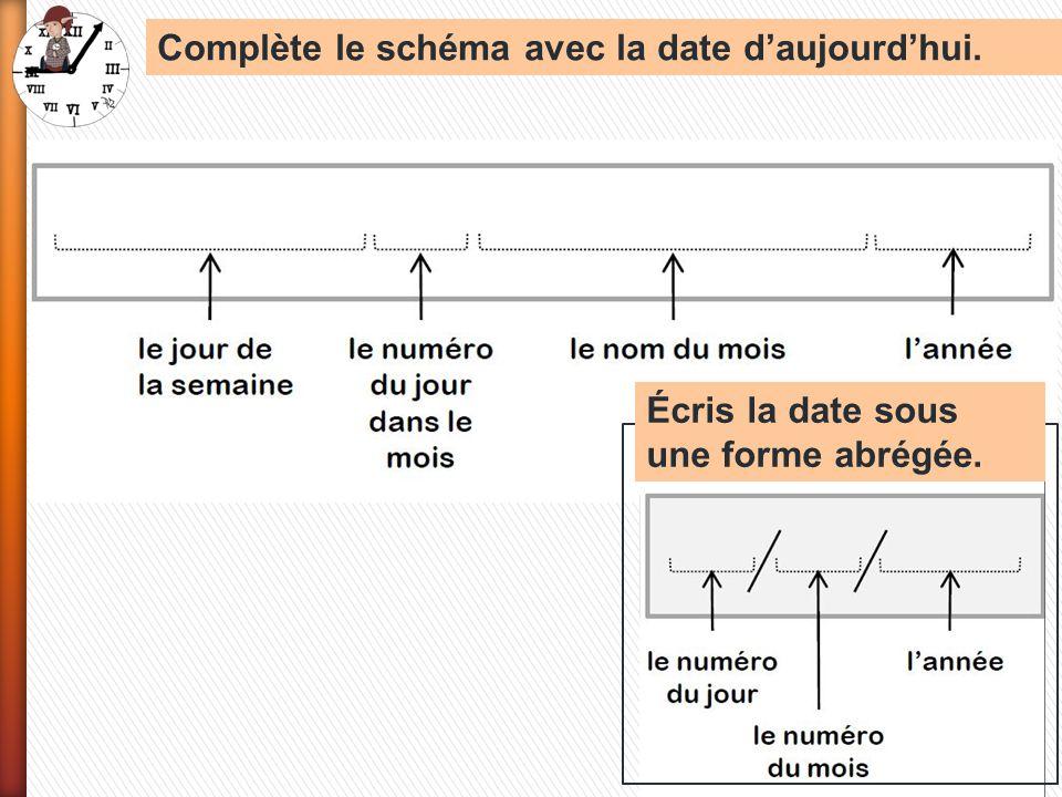 Complète le schéma avec la date daujourdhui. Écris la date sous une forme abrégée.