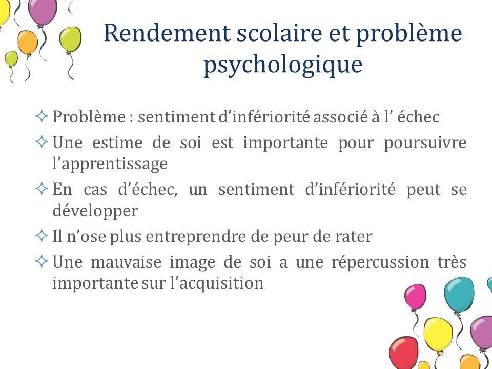 Rendement scolaire et problème psychologique Problème : sentiment dinfériorité associé à l échec Une estime de soi est importante pour poursuivre lapp