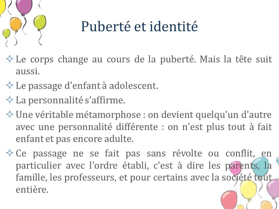 Puberté et identité Le corps change au cours de la puberté. Mais la tête suit aussi. Le passage d'enfant à adolescent. La personnalité s'affirme. Une