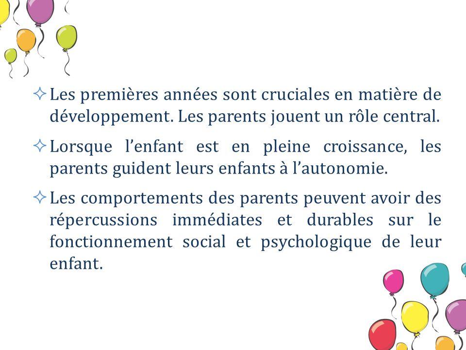 Les premières années sont cruciales en matière de développement. Les parents jouent un rôle central. Lorsque lenfant est en pleine croissance, les par
