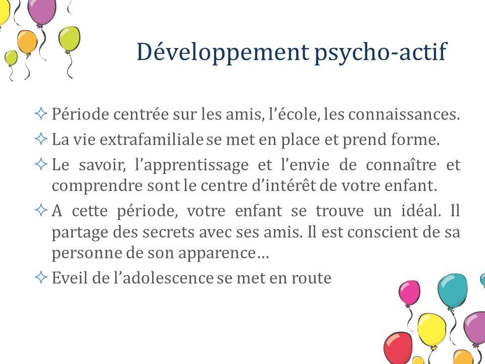 Développement psycho-actif Période centrée sur les amis, lécole, les connaissances. La vie extrafamiliale se met en place et prend forme. Le savoir, l