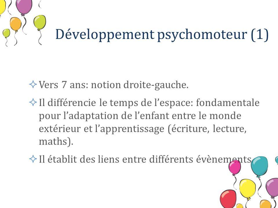 Développement psychomoteur (2) De 7 à 12 ans: Coordination des mouvements : maîtrise des mouvements de lécriture, manipulation des outils.