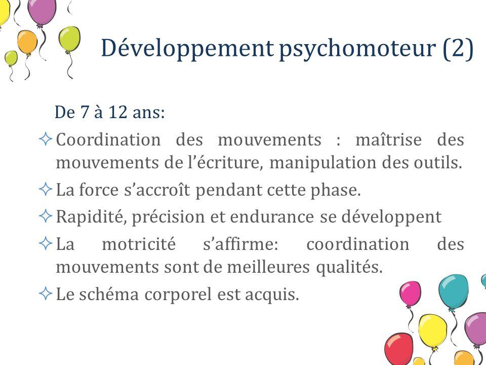 Développement psychomoteur (2) De 7 à 12 ans: Coordination des mouvements : maîtrise des mouvements de lécriture, manipulation des outils. La force sa