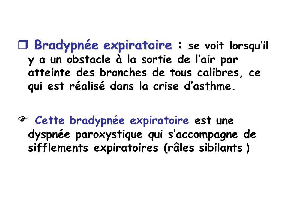 Bradypnée expiratoire Bradypnée expiratoire : se voit lorsquil y a un obstacle à la sortie de lair par atteinte des bronches de tous calibres, ce qui est réalisé dans la crise dasthme.
