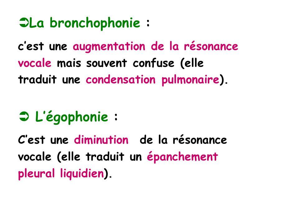 La bronchophonie : cest une augmentation de la résonance vocale mais souvent confuse (elle traduit une condensation pulmonaire).