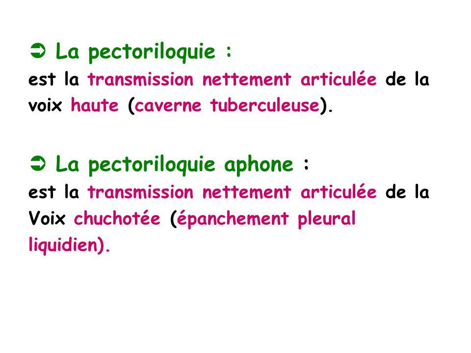 La pectoriloquie : est la transmission nettement articulée de la voix haute (caverne tuberculeuse).