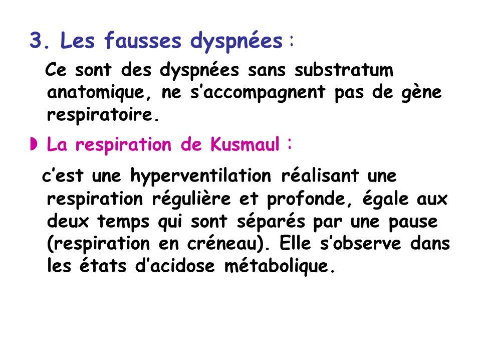 3. Les fausses dyspnées : Ce sont des dyspnées sans substratum anatomique, ne saccompagnent pas de gène respiratoire. La respiration de Kusmaul : cest