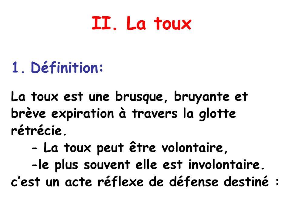 II. La toux 1.Définition: La toux est une brusque, bruyante et brève expiration à travers la glotte rétrécie. - La toux peut être volontaire, -le plus