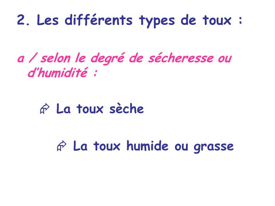 2. Les différents types de toux : a / selon le degré de sécheresse ou dhumidité : La toux sèche La toux humide ou grasse