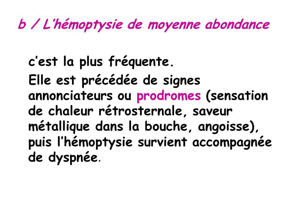 b / Lhémoptysie de moyenne abondance cest la plus fréquente.