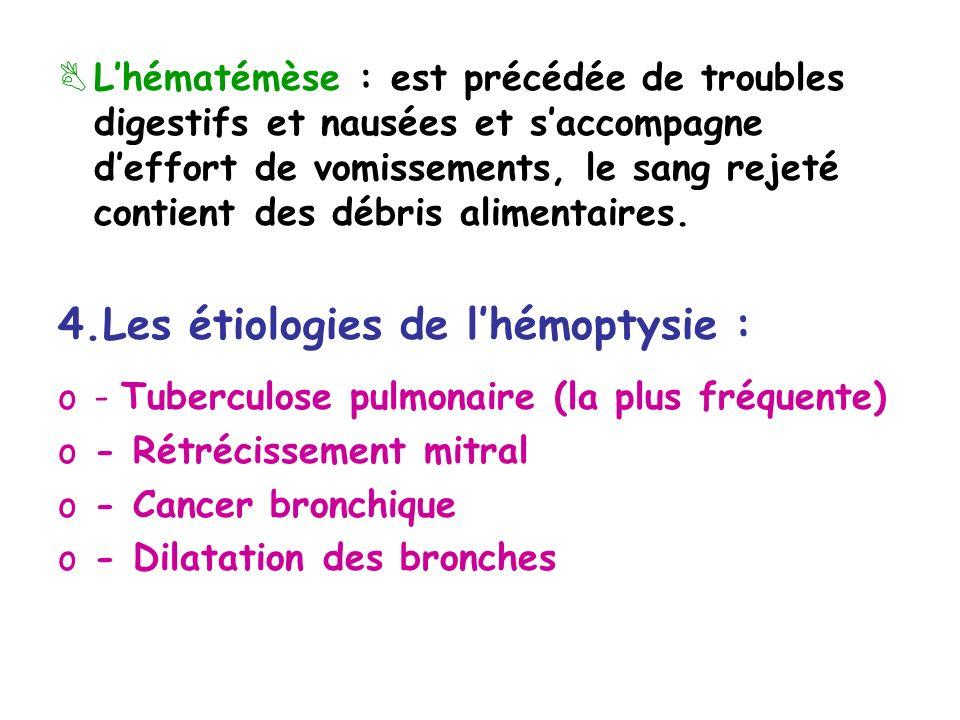 Lhématémèse : est précédée de troubles digestifs et nausées et saccompagne deffort de vomissements, le sang rejeté contient des débris alimentaires.