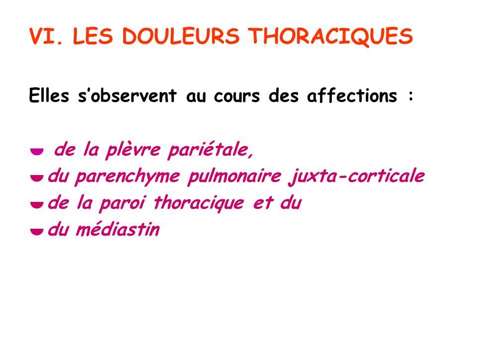 VI. LES DOULEURS THORACIQUES Elles sobservent au cours des affections : de la plèvre pariétale, du parenchyme pulmonaire juxta-corticale de la paroi t