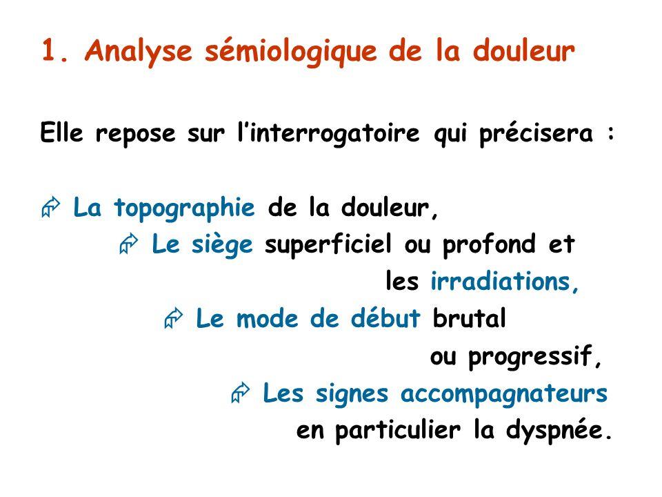 1. Analyse sémiologique de la douleur Elle repose sur linterrogatoire qui précisera : La topographie de la douleur, Le siège superficiel ou profond et