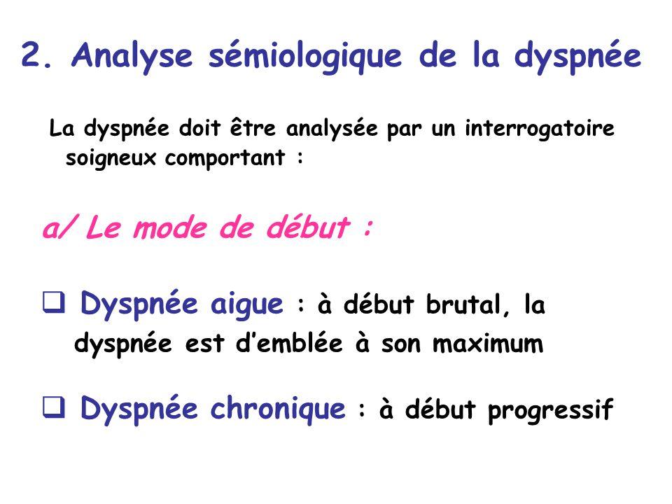 2. Analyse sémiologique de la dyspnée La dyspnée doit être analysée par un interrogatoire soigneux comportant : a/ Le mode de début : Dyspnée aigue :