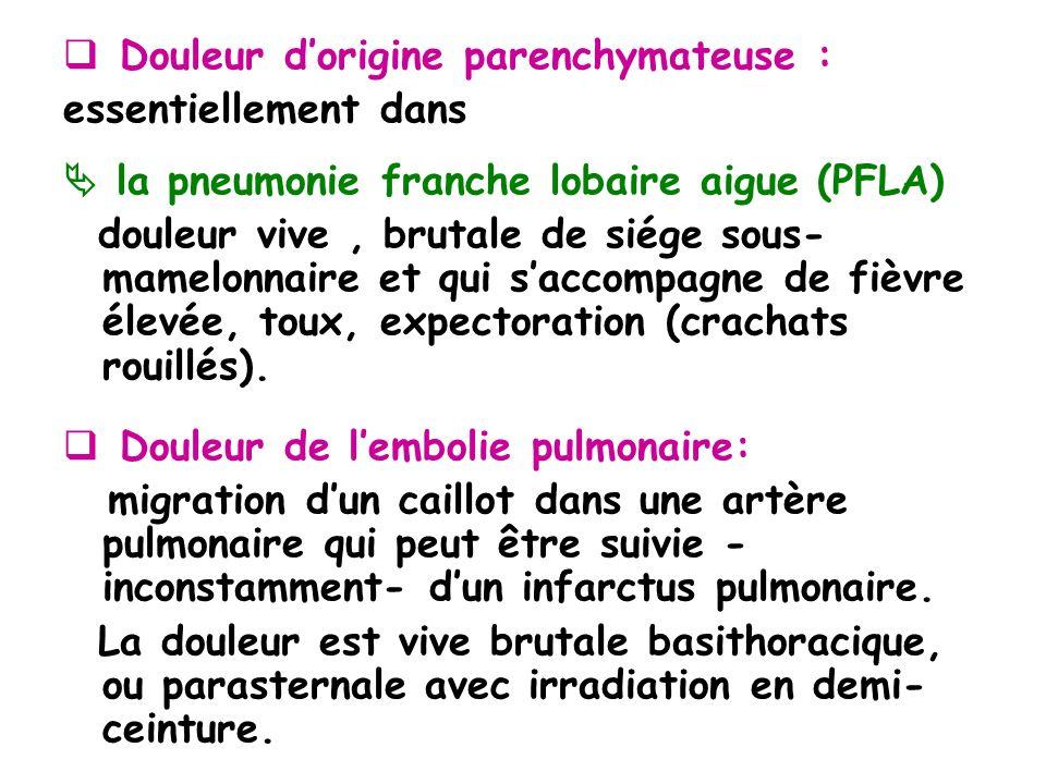 Douleur dorigine parenchymateuse : essentiellement dans la pneumonie franche lobaire aigue (PFLA) douleur vive, brutale de siége sous- mamelonnaire et qui saccompagne de fièvre élevée, toux, expectoration (crachats rouillés).