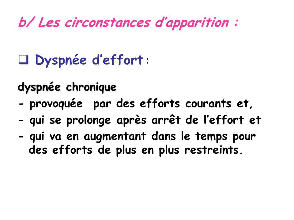 b/ Les circonstances dapparition : Dyspnée deffort : dyspnée chronique - provoquée par des efforts courants et, - qui se prolonge après arrêt de leffort et - qui va en augmentant dans le temps pour des efforts de plus en plus restreints.