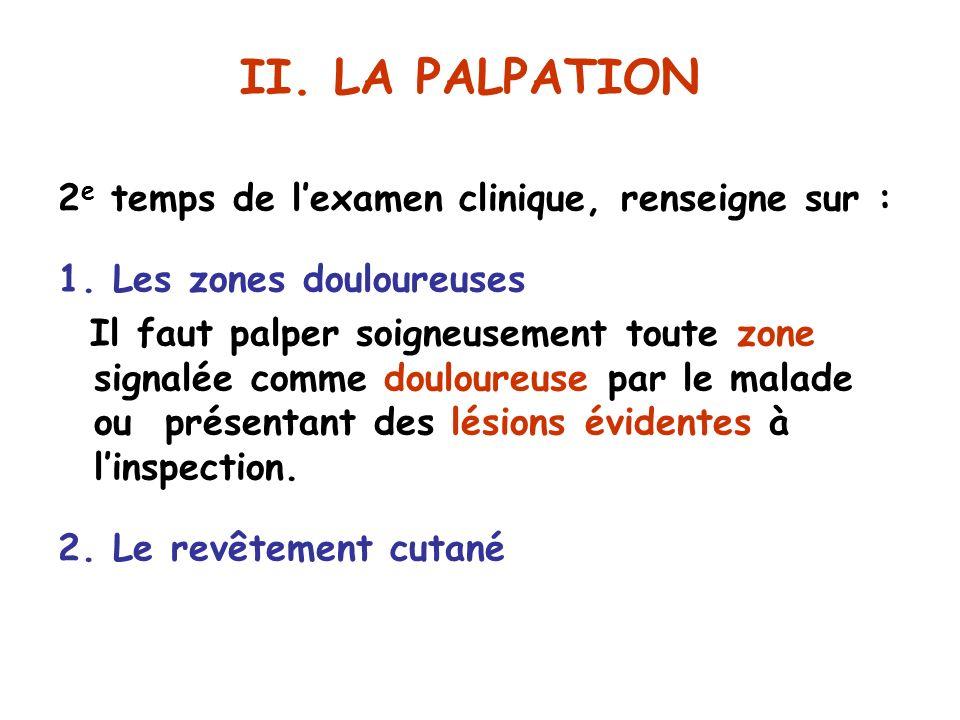 II.LA PALPATION 2 e temps de lexamen clinique, renseigne sur : 1.