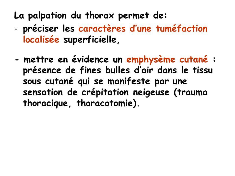 La palpation du thorax permet de: -préciser les caractères dune tuméfaction localisée superficielle, - mettre en évidence un emphysème cutané : présence de fines bulles dair dans le tissu sous cutané qui se manifeste par une sensation de crépitation neigeuse (trauma thoracique, thoracotomie).