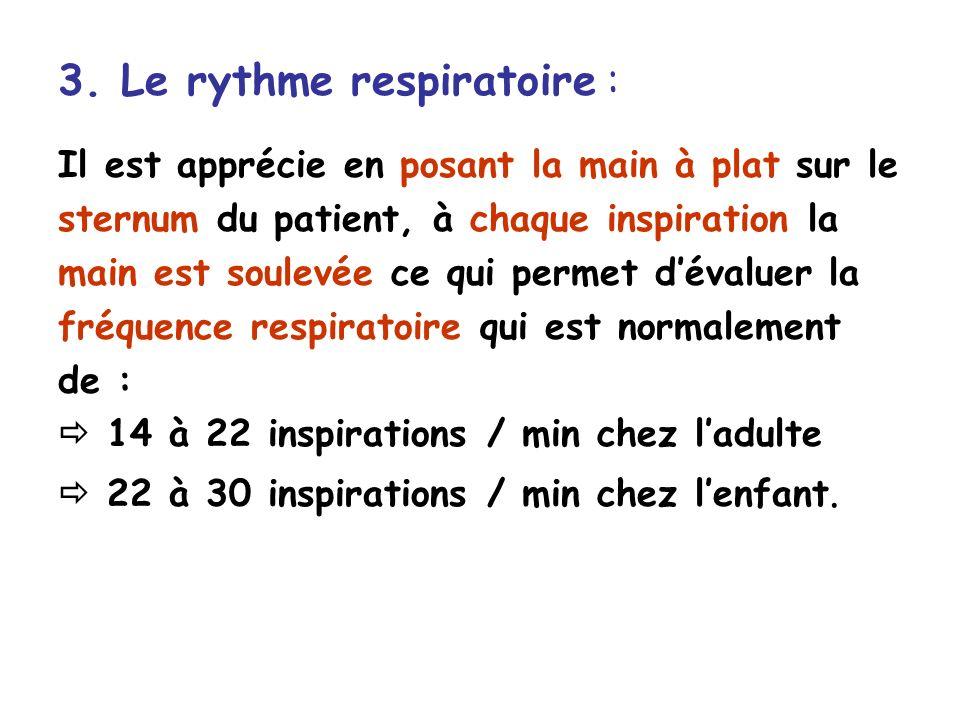 3. Le rythme respiratoire : Il est apprécie en posant la main à plat sur le sternum du patient, à chaque inspiration la main est soulevée ce qui perme