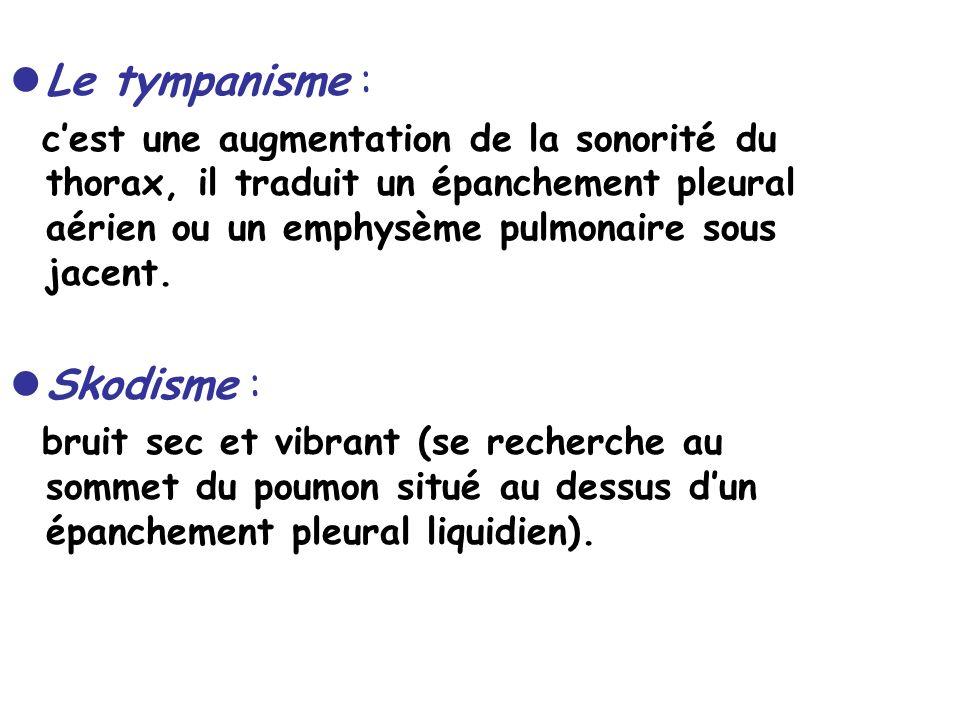 Le tympanisme : cest une augmentation de la sonorité du thorax, il traduit un épanchement pleural aérien ou un emphysème pulmonaire sous jacent.
