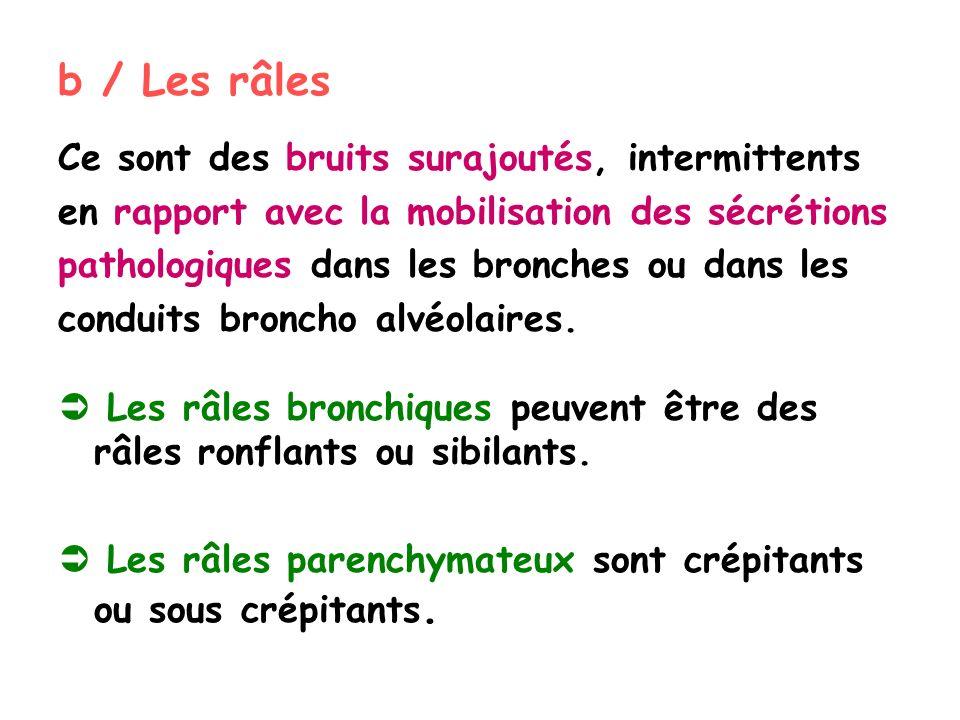 b / Les râles Ce sont des bruits surajoutés, intermittents en rapport avec la mobilisation des sécrétions pathologiques dans les bronches ou dans les conduits broncho alvéolaires.