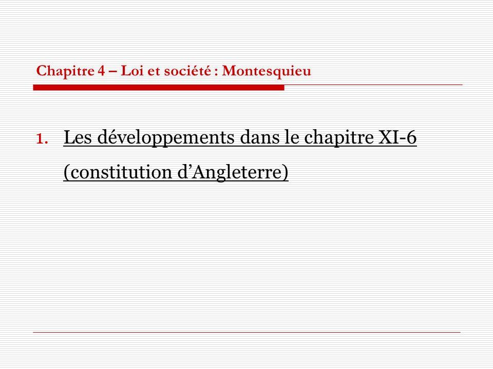 Chapitre 4 – Loi et société : Montesquieu 1.Les développements dans le chapitre XI-6 (constitution dAngleterre)