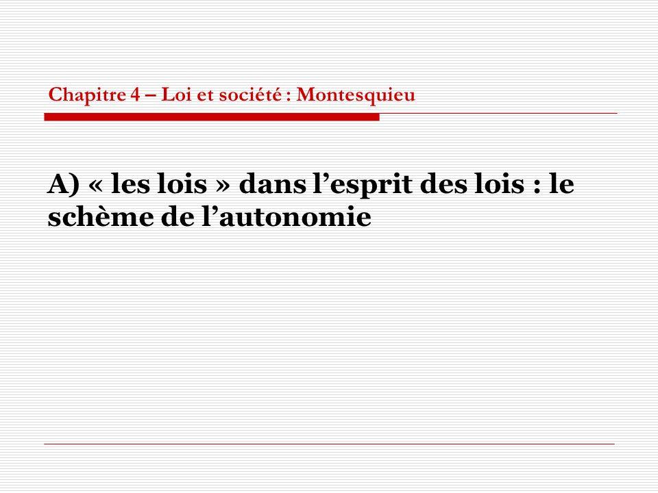 Chapitre 4 – Loi et société : Montesquieu A) « les lois » dans lesprit des lois : le schème de lautonomie
