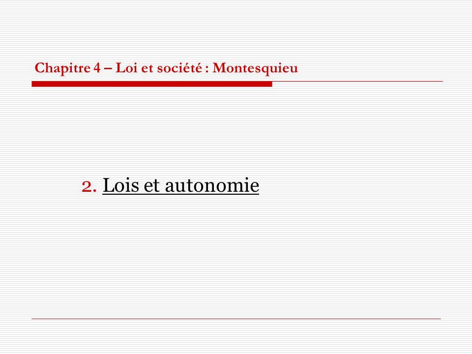 Chapitre 4 – Loi et société : Montesquieu 2. Lois et autonomie