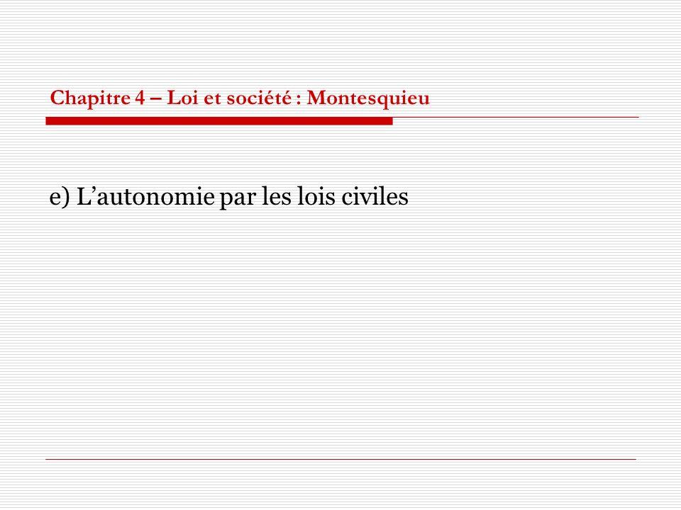 Chapitre 4 – Loi et société : Montesquieu e) Lautonomie par les lois civiles