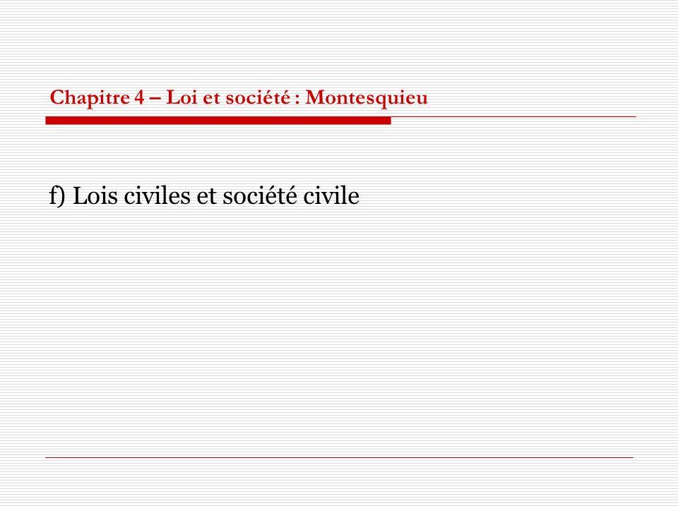 Chapitre 4 – Loi et société : Montesquieu f) Lois civiles et société civile