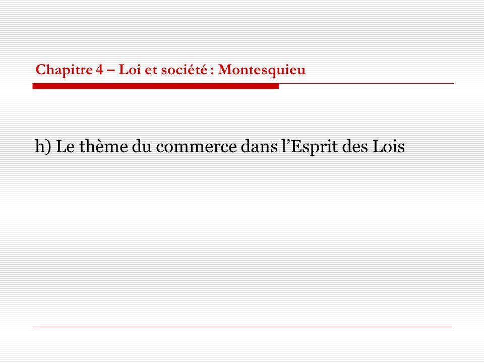 Chapitre 4 – Loi et société : Montesquieu h) Le thème du commerce dans lEsprit des Lois