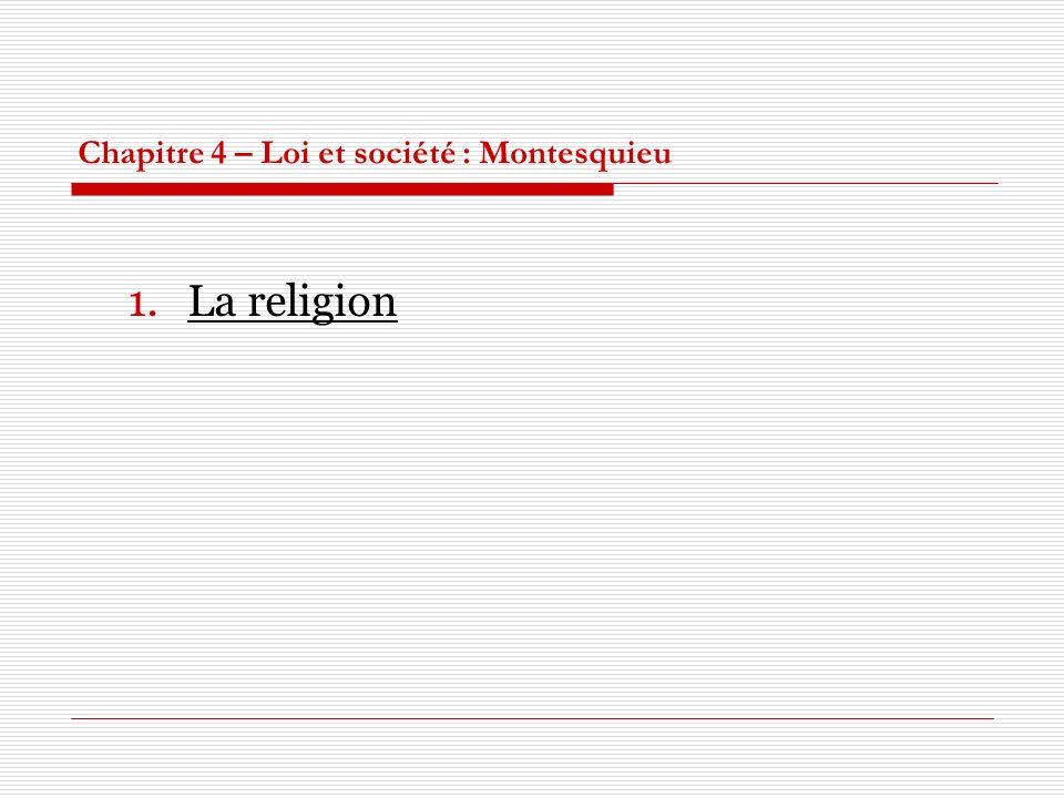 Chapitre 4 – Loi et société : Montesquieu 1.La religion