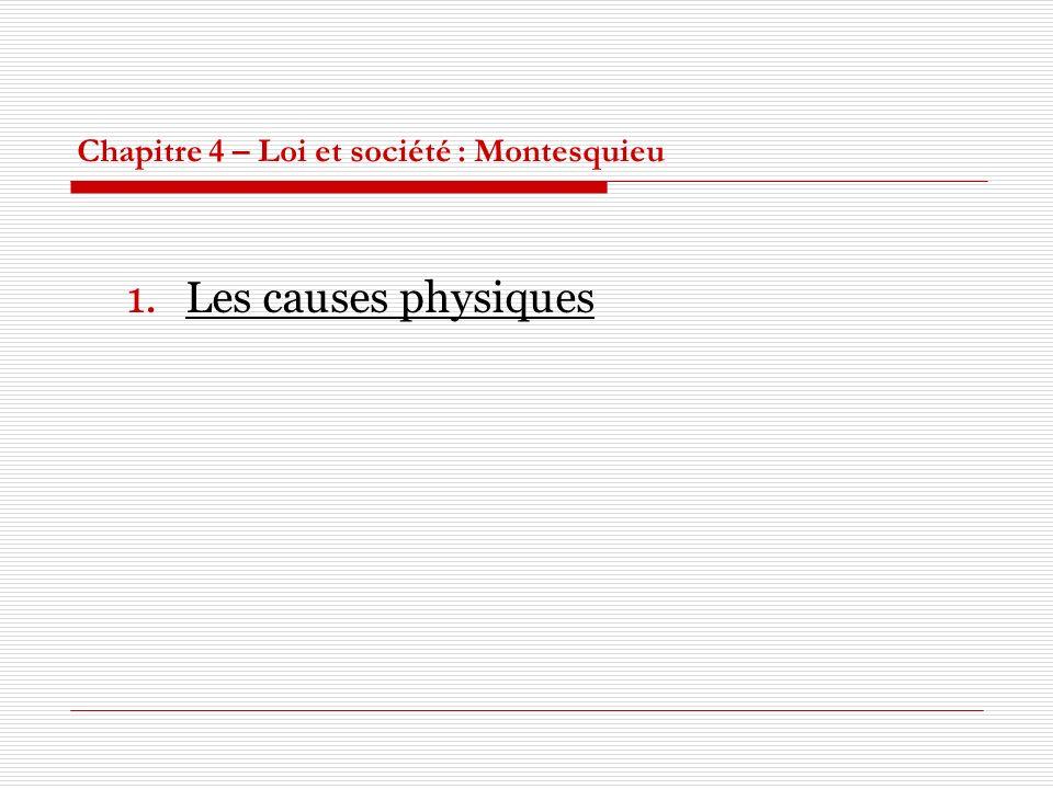 Chapitre 4 – Loi et société : Montesquieu 1.Les causes physiques