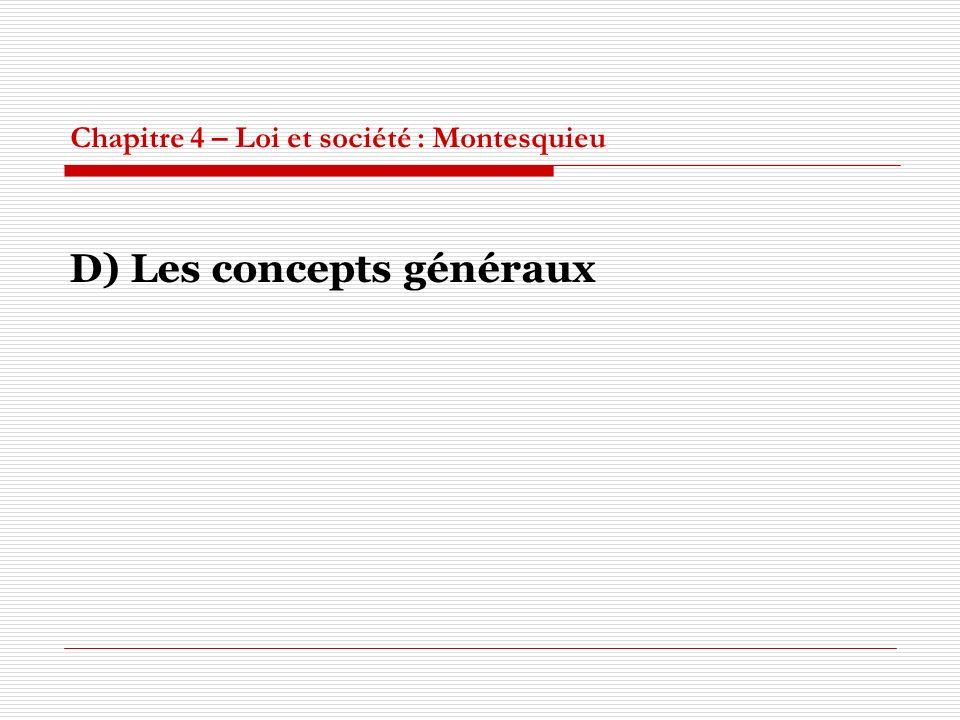 Chapitre 4 – Loi et société : Montesquieu D) Les concepts généraux