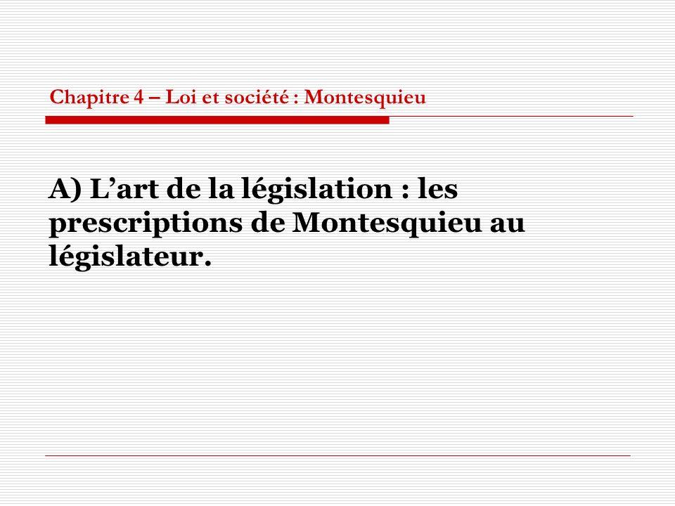 Chapitre 4 – Loi et société : Montesquieu A) Lart de la législation : les prescriptions de Montesquieu au législateur.